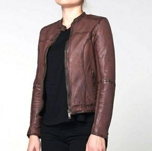 Goosecraft Washed Leather Biker Jacket - jacket193